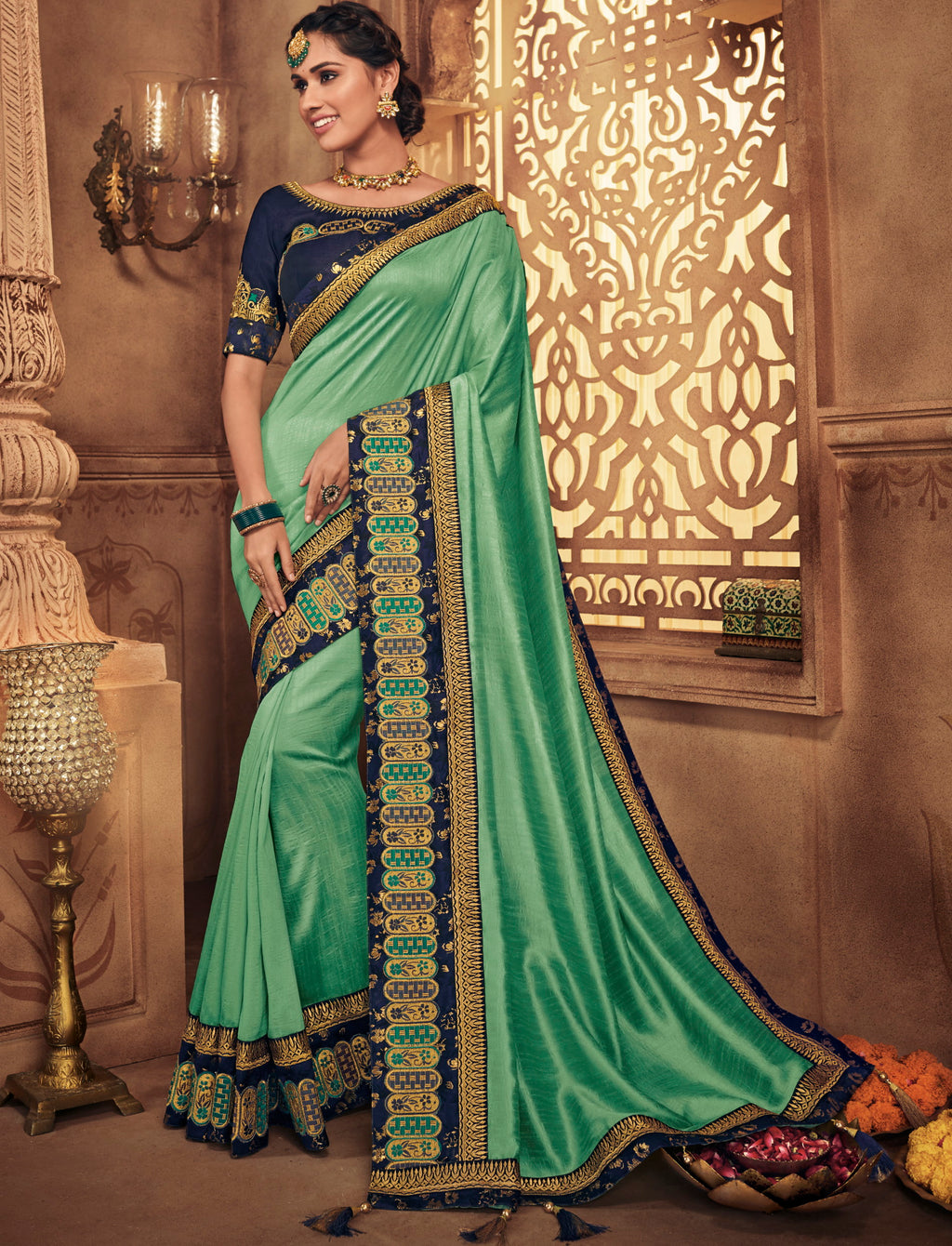 Sea Green Color Silk Stunning Occasion Wear Sarees NYF-4455