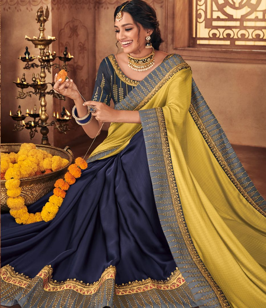 Blue Color Jacquard Silk Stunning Occasion Wear Sarees NYF-4456