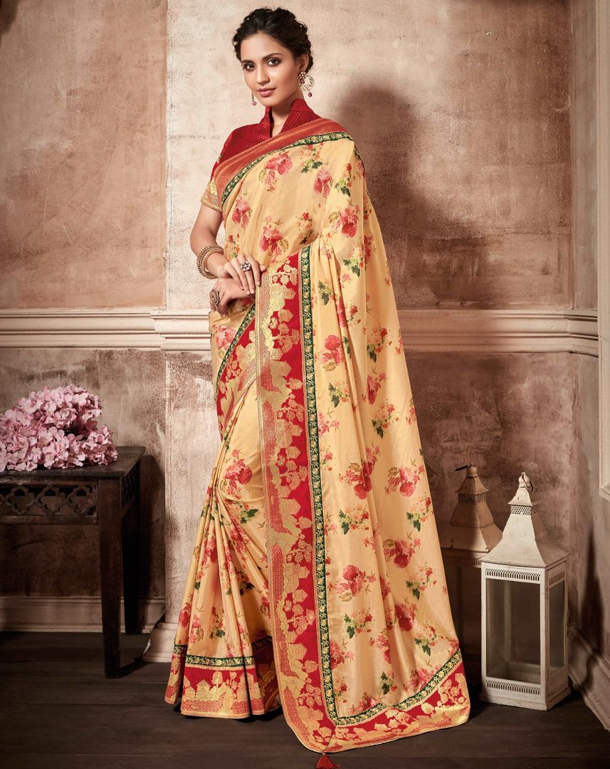 Cream Color Satin Silk Designer Party Wear Sarees : Kshipra Collection  NYF-3048 - YellowFashion.in