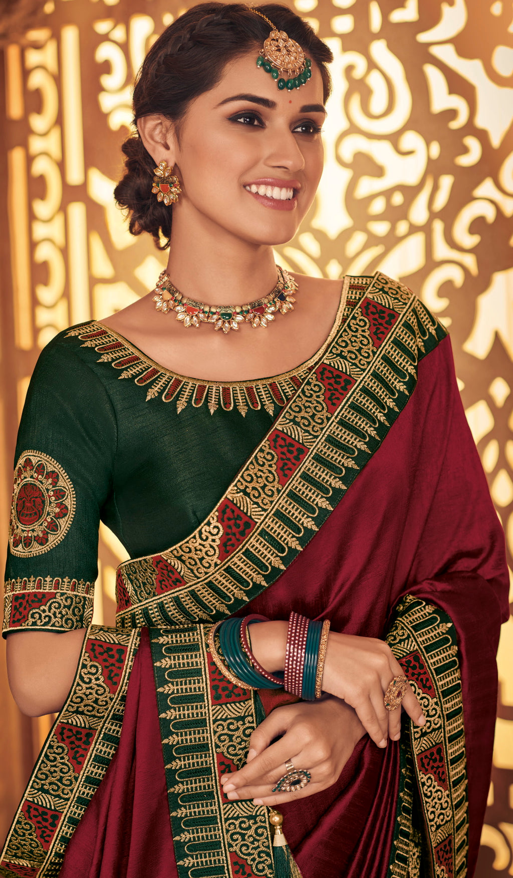 Maroon Color Silk Stunning Occasion Wear Sarees NYF-4459