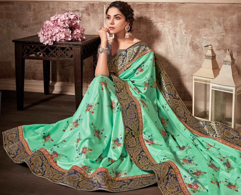 Sea Green Color Satin Silk Designer Party Wear Sarees : Kshipra Collection  NYF-3049 - YellowFashion.in