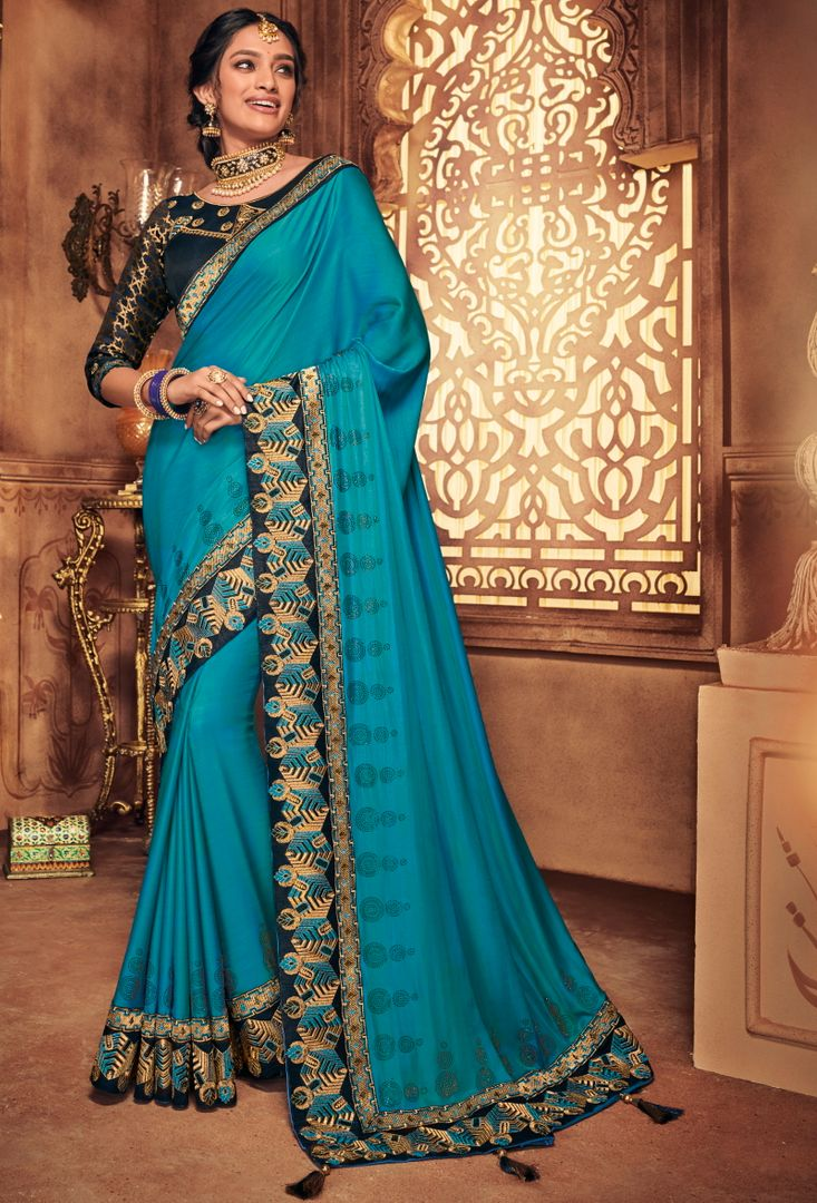 Firozi Color Silk Stunning Occasion Wear Sarees NYF-4460