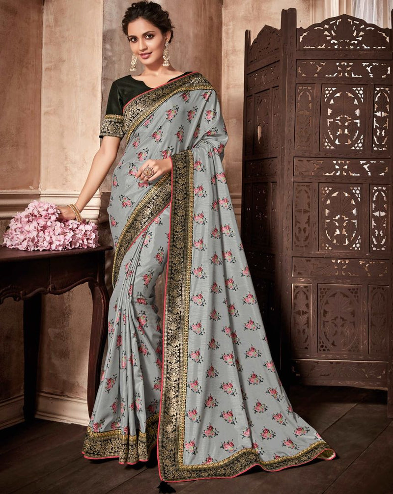 Grey Color Satin Silk Designer Party Wear Sarees : Kshipra Collection  NYF-3050 - YellowFashion.in