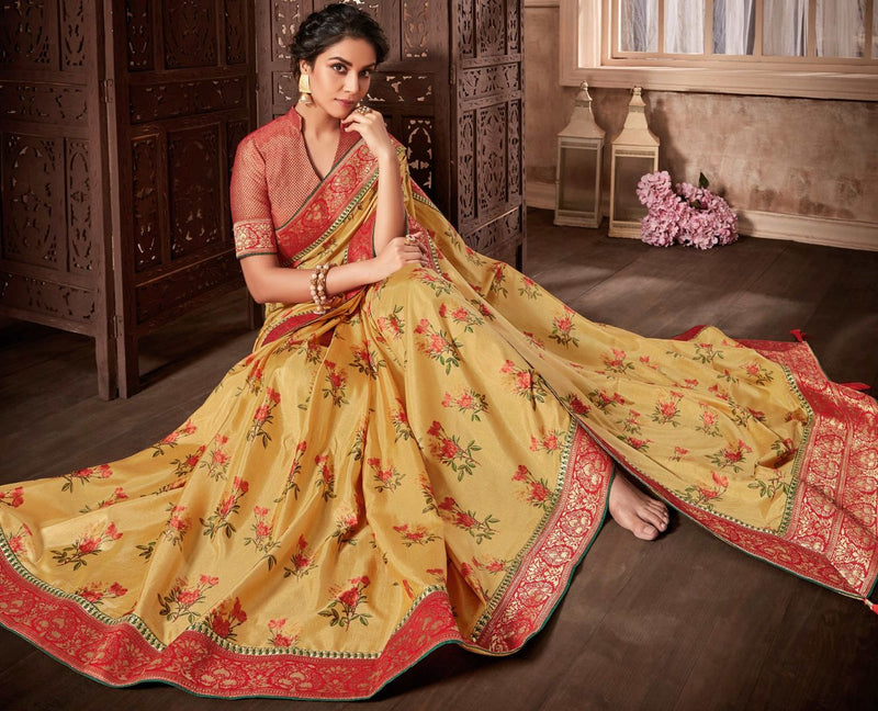 Golden Color Satin Silk Designer Party Wear Sarees : Kshipra Collection  NYF-3051 - YellowFashion.in