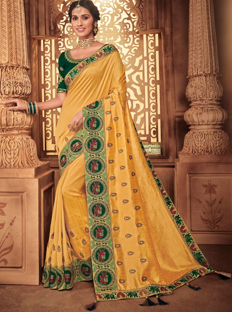 Yellow Color Silk Stunning Occasion Wear Sarees NYF-4462