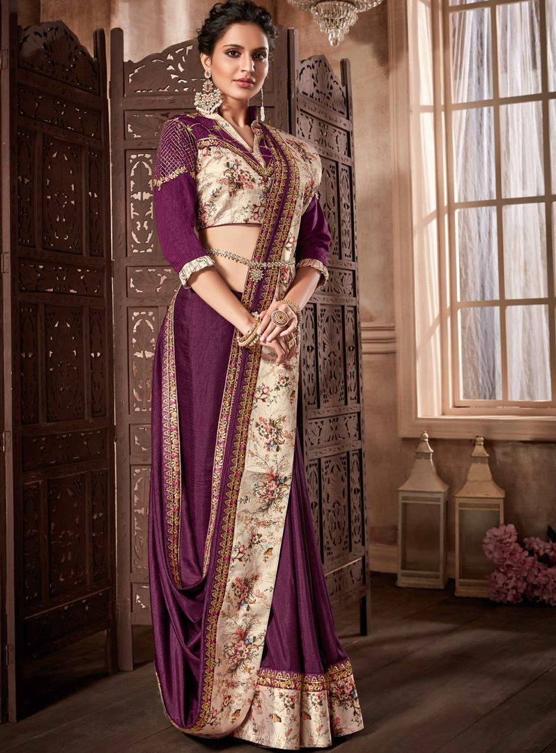 Purple Color Satin Silk Designer Party Wear Sarees : Kshipra Collection  NYF-3052 - YellowFashion.in
