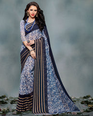 Blue Color Chiffon Casual Wear Sarees : Smira Collection  YF-57143
