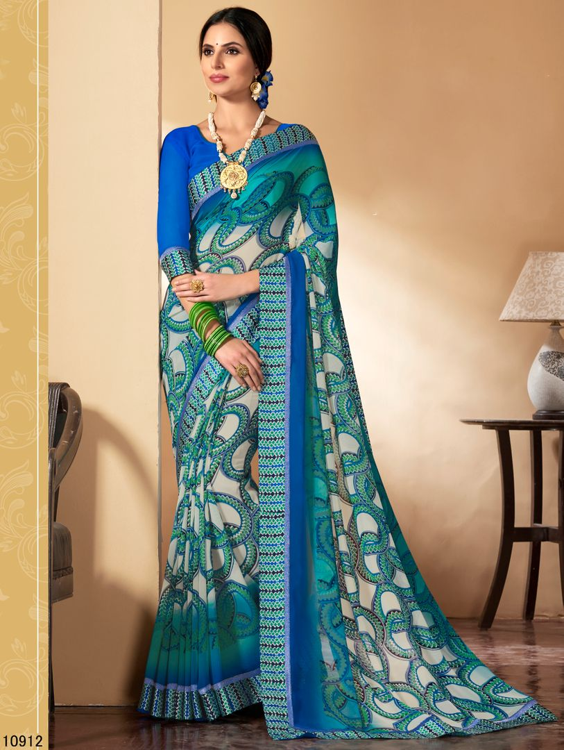 Off White, Blue & Green Color Chiffon Party & Function Wear Sarees : Ranjita Collection  NYF-2482 - YellowFashion.in
