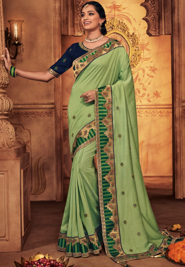 Pastel Green Color Silk Stunning Occasion Wear Sarees NYF-4463