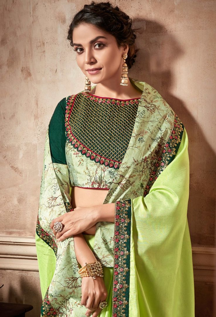 Pasel Green Color Satin Silk Designer Party Wear Sarees : Kshipra Collection  NYF-3053 - YellowFashion.in
