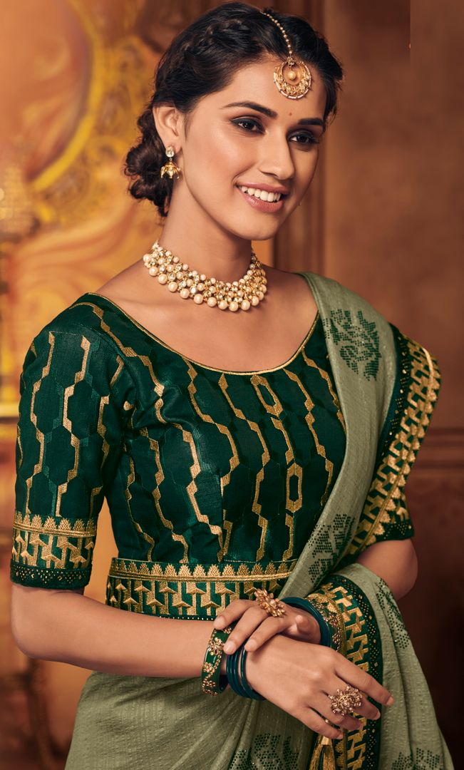 Moss Green Color Silk Stunning Occasion Wear Sarees NYF-4464