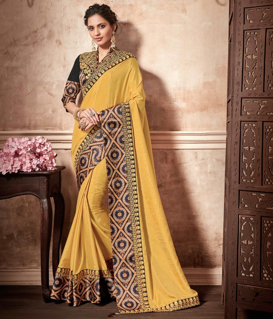Yellow Color Raw Silk Designer Party Wear Sarees : Kshipra Collection  NYF-3054 - YellowFashion.in