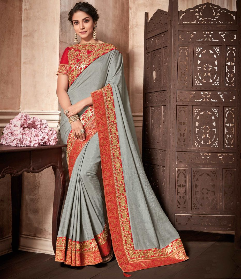 Grey Color Raw Silk Designer Party Wear Sarees : Kshipra Collection  NYF-3055 - YellowFashion.in