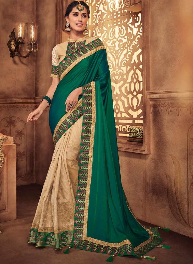 Cream & Green Color Silk Stunning Occasion Wear Sarees NYF-4466