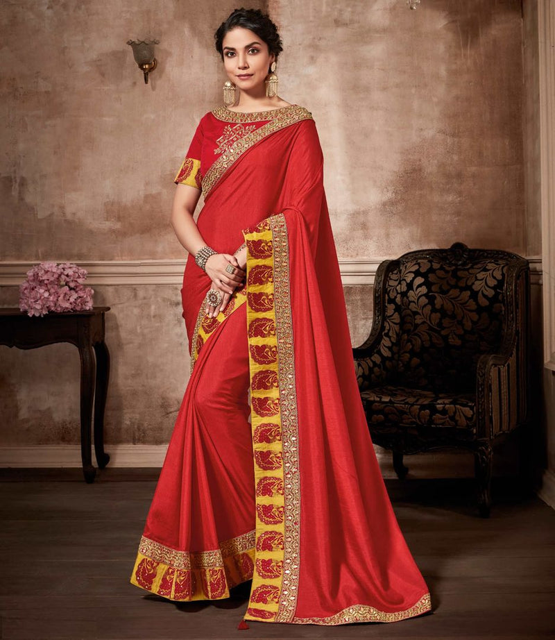 Sindoori Color Crepe Silk Designer Party Wear Sarees : Kshipra Collection  NYF-3056 - YellowFashion.in