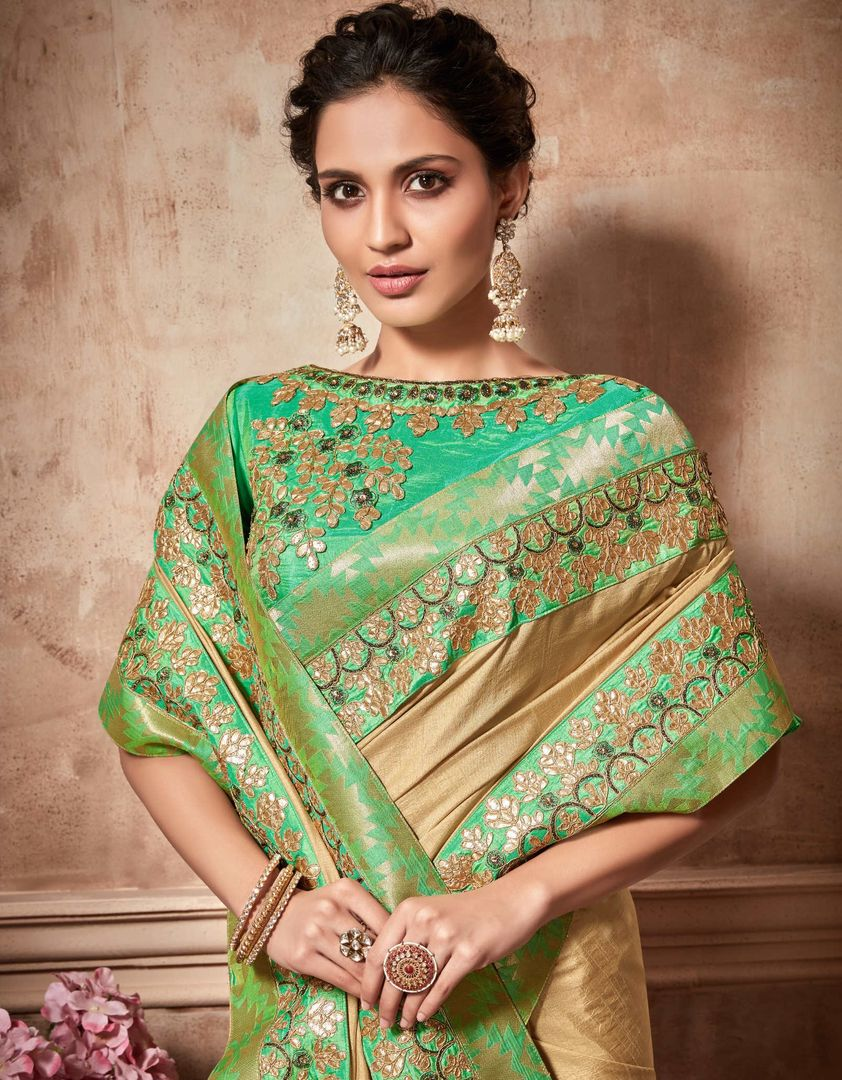 Light Coffee Color Raw Silk Designer Party Wear Sarees : Kshipra Collection  NYF-3057 - YellowFashion.in