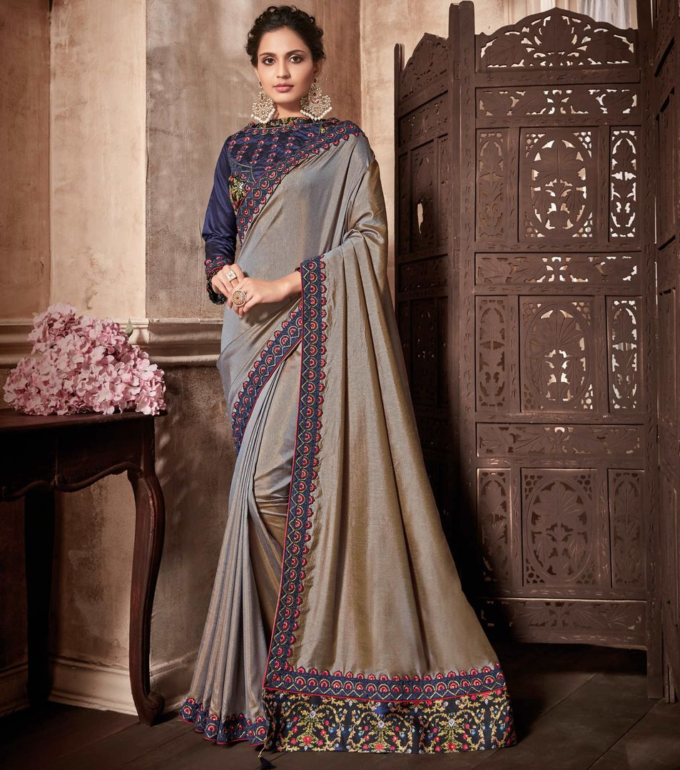 Grey Color Two Tone Silk Designer Party Wear Sarees : Kshipra Collection  NYF-3059 - YellowFashion.in