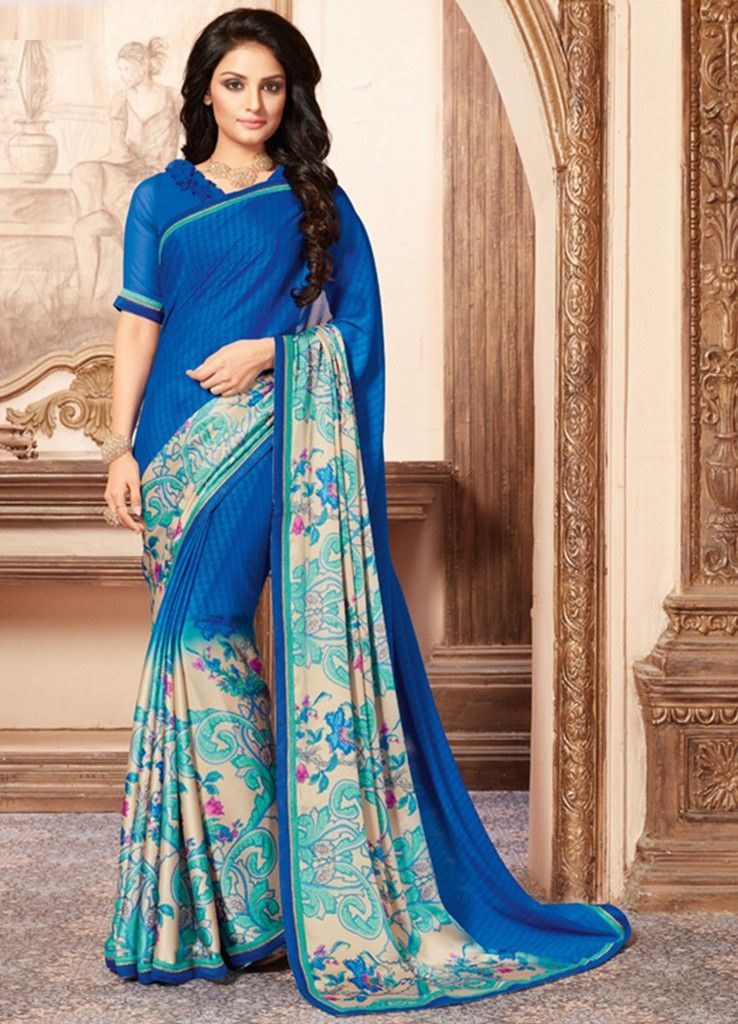 Blue Color Chiffon Designer Festive Sarees : Preyashi Collection  NYF-1296 - YellowFashion.in
