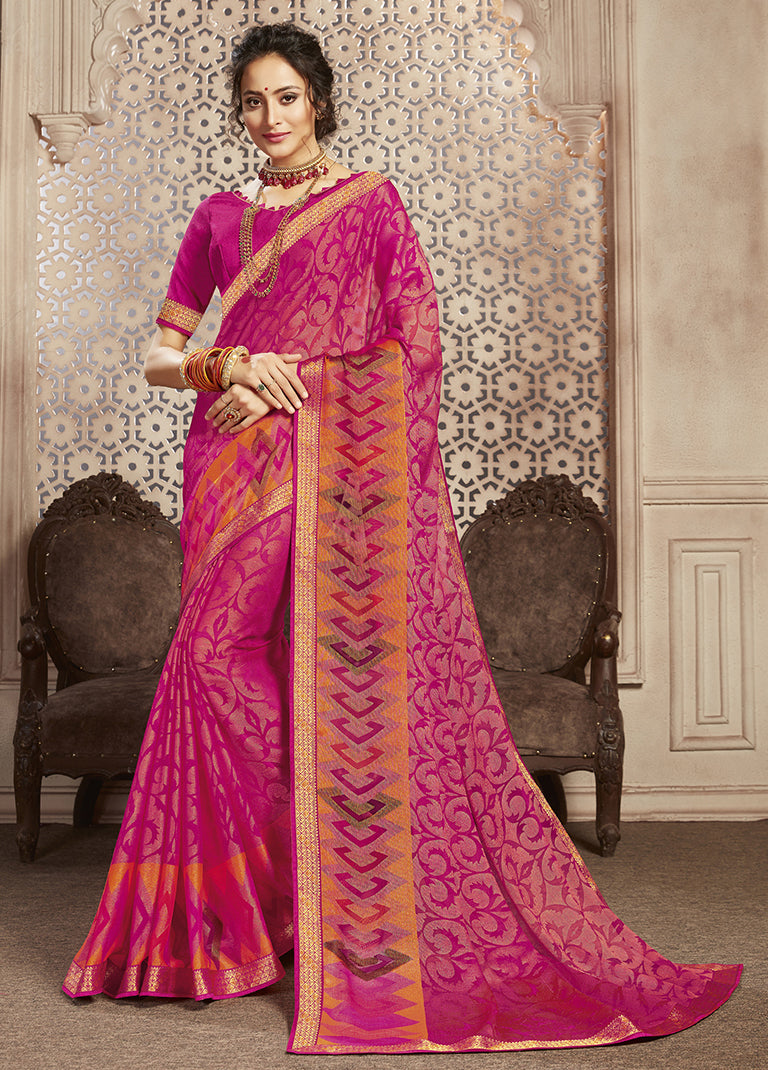 Pink Color Georgette Brasso Festive Sarees NYF-8420