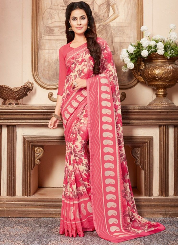 Pink Color Chiffon Designer Festive Sarees : Preyashi Collection  NYF-1297 - YellowFashion.in