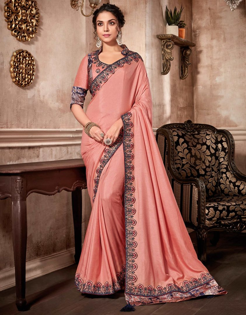 Peach Color Satin Silk Designer Party Wear Sarees : Kshipra Collection  NYF-3061 - YellowFashion.in