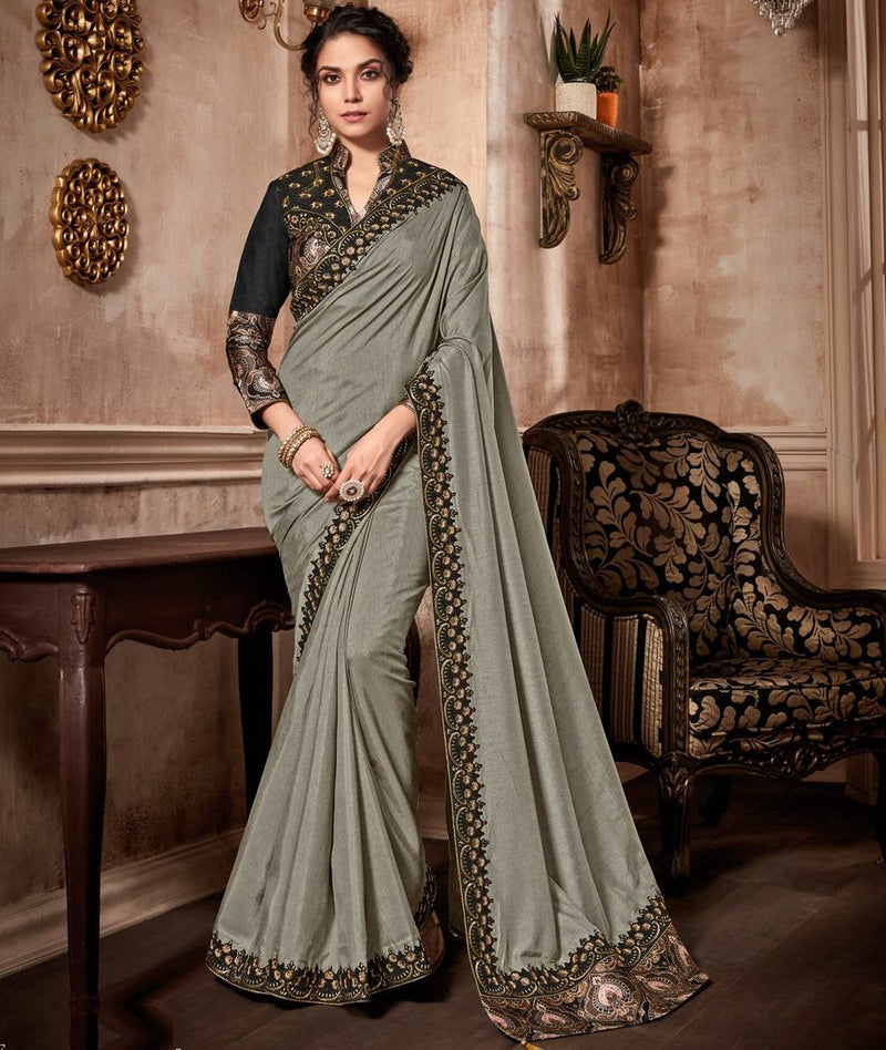 Grey Color Raw Silk Designer Party Wear Sarees : Kshipra Collection  NYF-3062 - YellowFashion.in