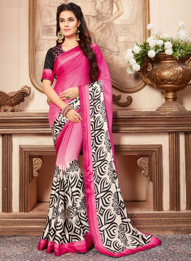 Pink Color Crepe Designer Festive Sarees : Preyashi Collection  NYF-1298 - YellowFashion.in