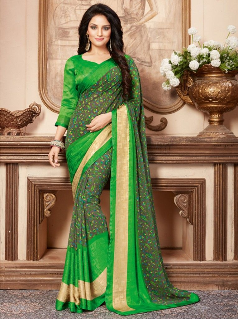 Green Color Chiffon Designer Festive Sarees : Preyashi Collection  NYF-1299 - YellowFashion.in