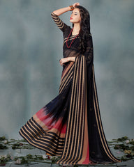 Black Color Chiffon Casual Wear Sarees : Smira Collection  YF-57157