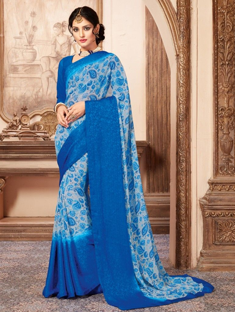 Blue Color Chiffon Designer Festive Sarees : Preyashi Collection  NYF-1300 - YellowFashion.in