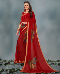 Red Color Georgette Casual Wear Sarees : Smira Collection  YF-57171