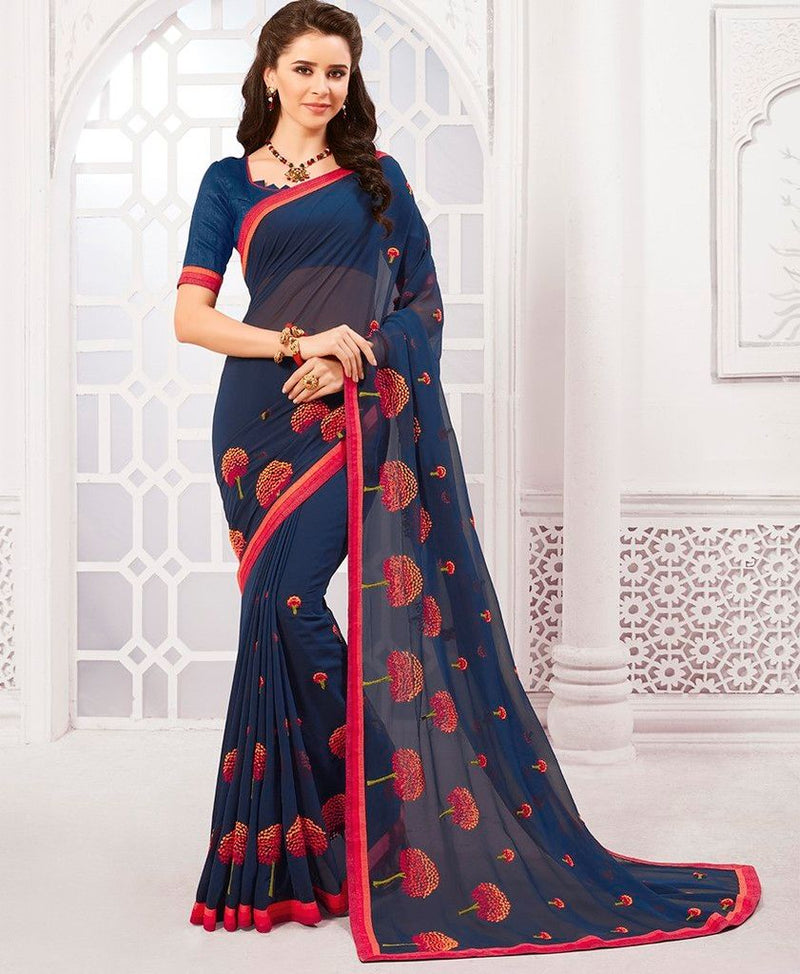 Blue Color Georgette Designer Festive Sarees : Preyashi Collection  NYF-1302 - YellowFashion.in