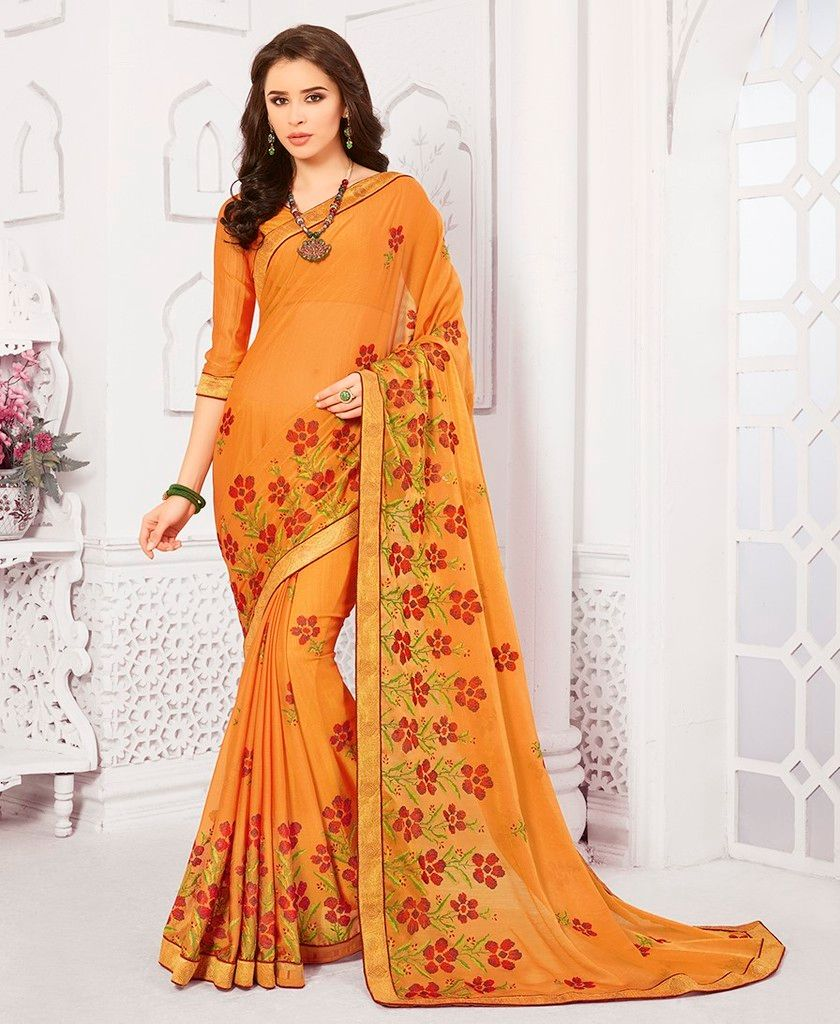 Yellow Color Crepe Georgette Designer Festive Sarees : Preyashi Collection  NYF-1301 - YellowFashion.in