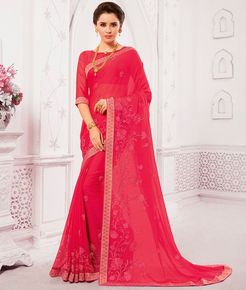 Pink Color Georgette Designer Festive Sarees : Preyashi Collection  NYF-1304 - YellowFashion.in
