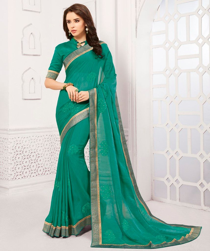 Green Color Georgette Designer Festive Sarees : Preyashi Collection  NYF-1305 - YellowFashion.in