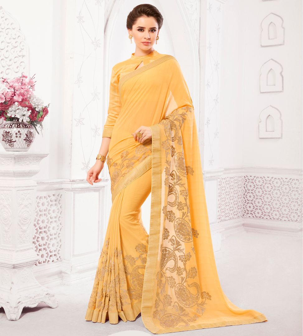 Light Yellow Color Chiffon Embroidered Party & Function Wear Sarees : Ranjita Collection  NYF-2484 - YellowFashion.in