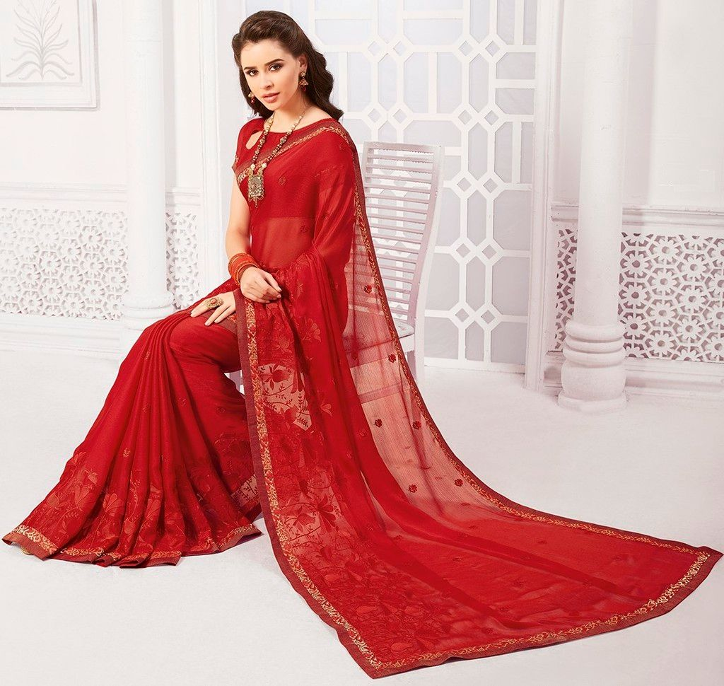 Maroon Color Georgette Designer Festive Sarees : Preyashi Collection  NYF-1306 - YellowFashion.in