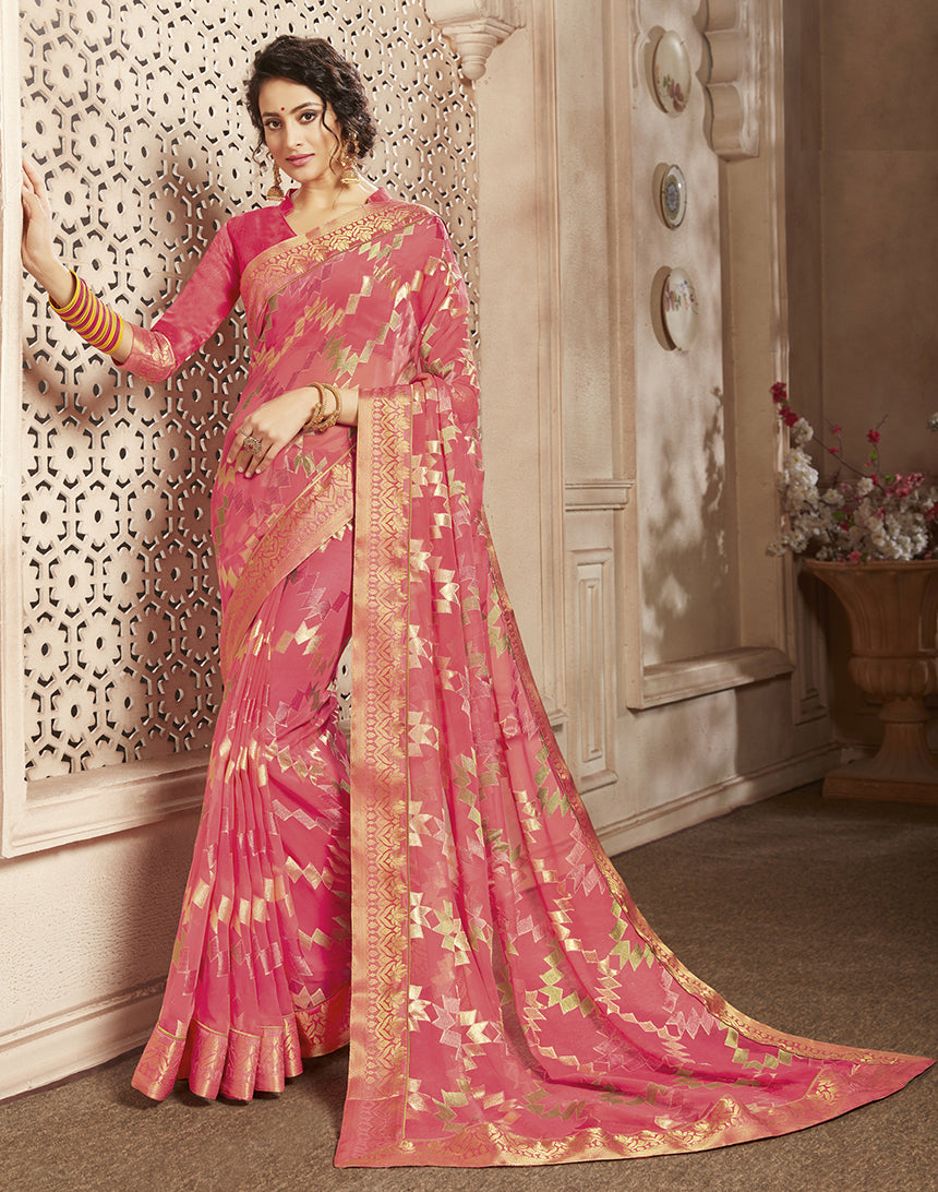 Pink Color Georgette Brasso Party Wear Sarees NYF-8265