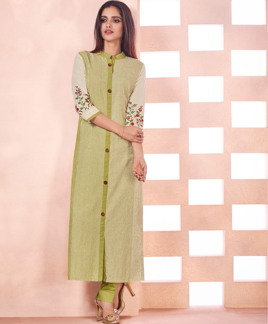 Green & Cream Color Weaving Cotton Casual Long Kurtis NYF-4807