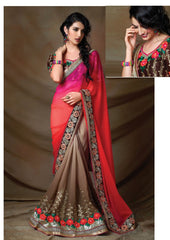 Mud & Orange Color Georgette Party Wear Sarees : Trupti Collection  YF-32555