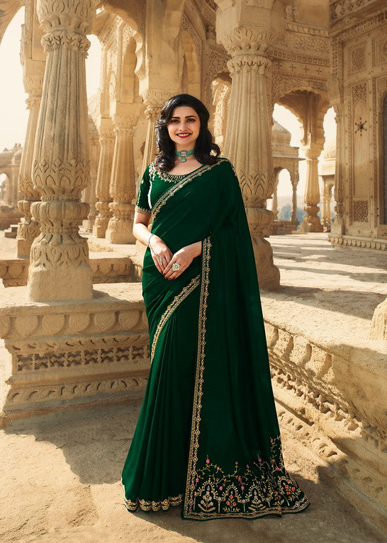 Bottle Green Color Dupian Silk Festive Wear Sarees -  Rabhya Collection  YF#10854