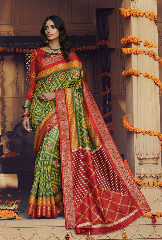 Green and Red Color Art Silk With Woven Border Casual Wear Saree -Ella Collection  YF#10797