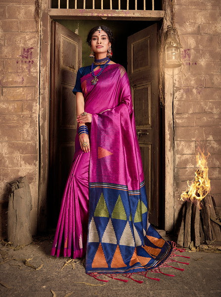 Pink and Navy Blue Color Art Silk Ethnic Wear Saree -  Aashna Collection  YF#11612