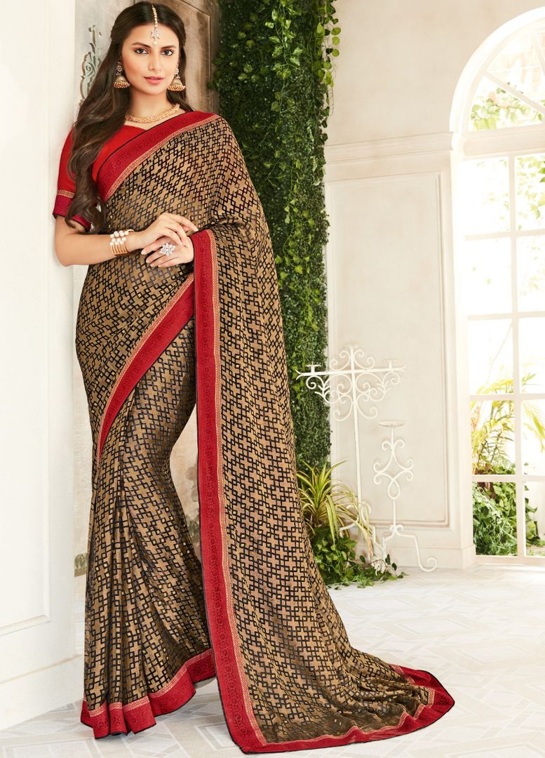 Golden & Black Color Brasso Beautiful Kitty Party Sarees NYF-4417