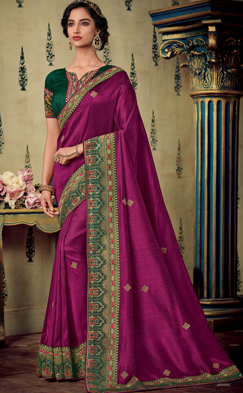 Purple Color Two Tone Silk Pretty Occasion Wear Sarees NYF-5687