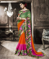 Green & Orange Color Georgette Party Wear Sarees : Rehan Collection  YF-33452