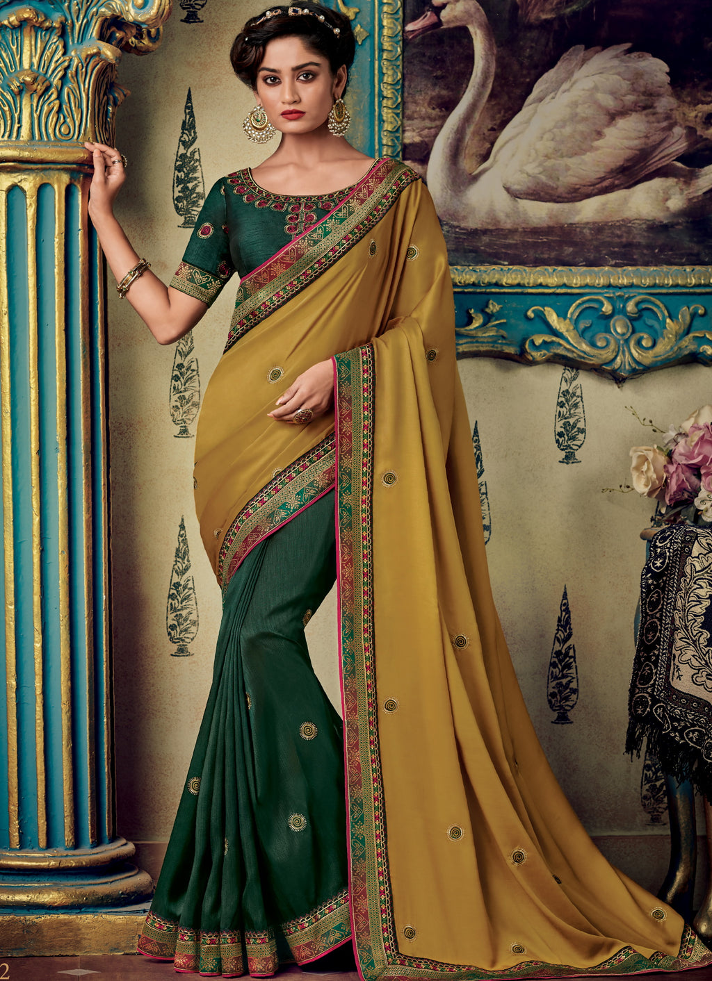Green & Mustard Yellow Color Two Tone Silk Pretty Occasion Wear Sarees NYF-5688