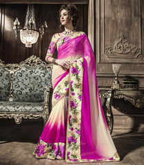 Cream & Pink Color Georgette Party Wear Sarees : Rehan Collection  YF-33453
