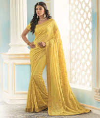 Yellow Color Georgette Designer Festive Sarees : Shrividya Collection  YF-59735