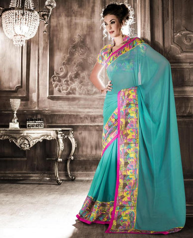 Sea Green Color Georgette Party Wear Sarees : Rehan Collection  YF-33454